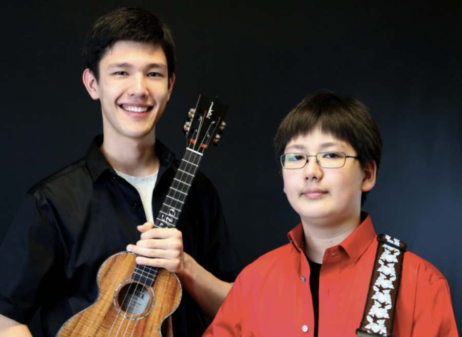 Sho Humpries '21 and his brother Shin Humphries '24 pose with their ukeleles.
