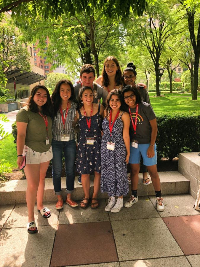 Keana Saberi '22 and fellow students in the 'Writing the Big City' course on their last day at Fordham University.
