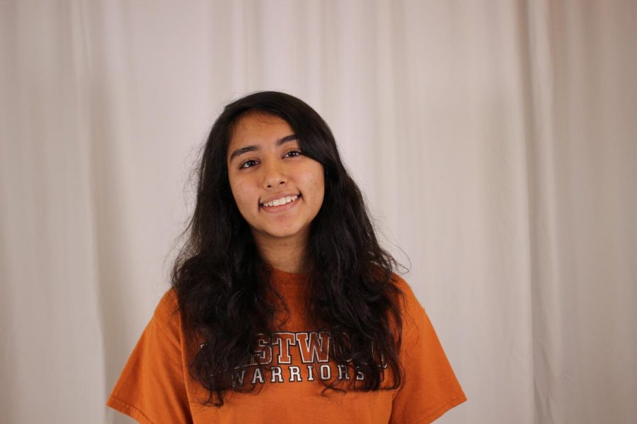 Showing off some school spirit, Anouka Saha '21 sports a Westwood shirt on the fourth day of Howdy Week.