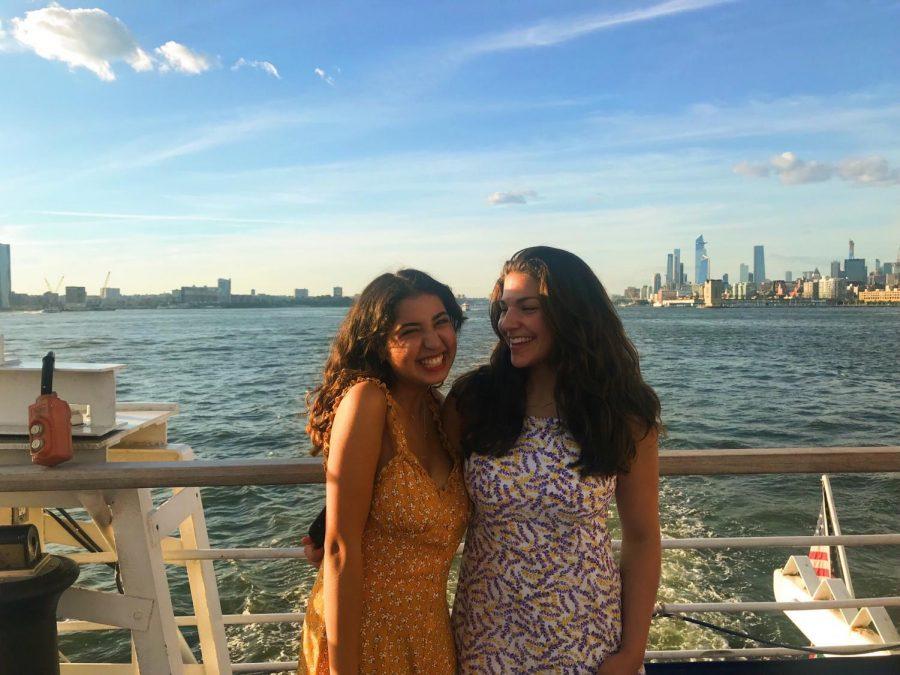 Keana Saberi '22 enjoys on the yacht ride on the Hudson River.