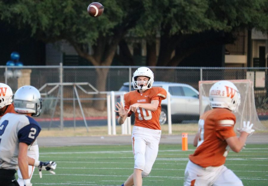 Kaden Clement '22 attempts to throw a no-look pass. Unfortunately, the pass fell incomplete.