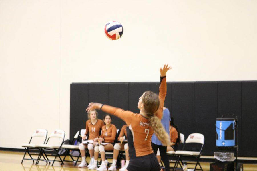 Olivia Cook '23 jumps in the air to hit the  ball.