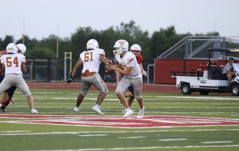 Mathew Lescano '22 runs to the end zone. Lescano was tackled before he could get there.