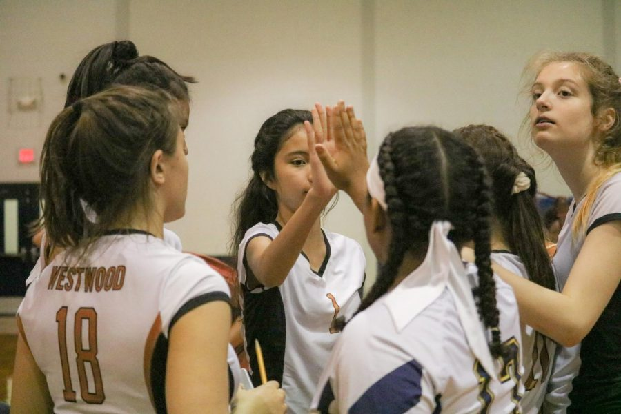 Stony Point volleyball players congratulating Westwood on a good game. A few of the Tigers gave high-fives and congratulated Westwood on their good effort.