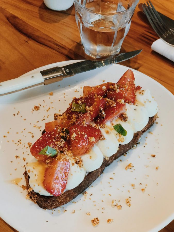 The whipped ricotta toast topped with strawberries.