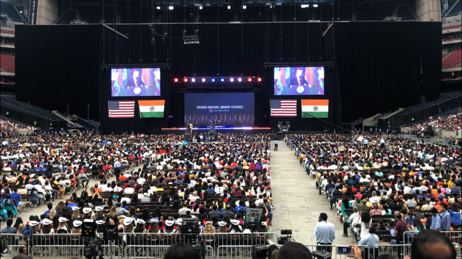 President Donald Trump speaks to the crowd, reinforcing his support of relations between India and the US.  With thousands of Indian Americans flocking to the rally, Trump ensures to praise and thank the audience for their efforts.