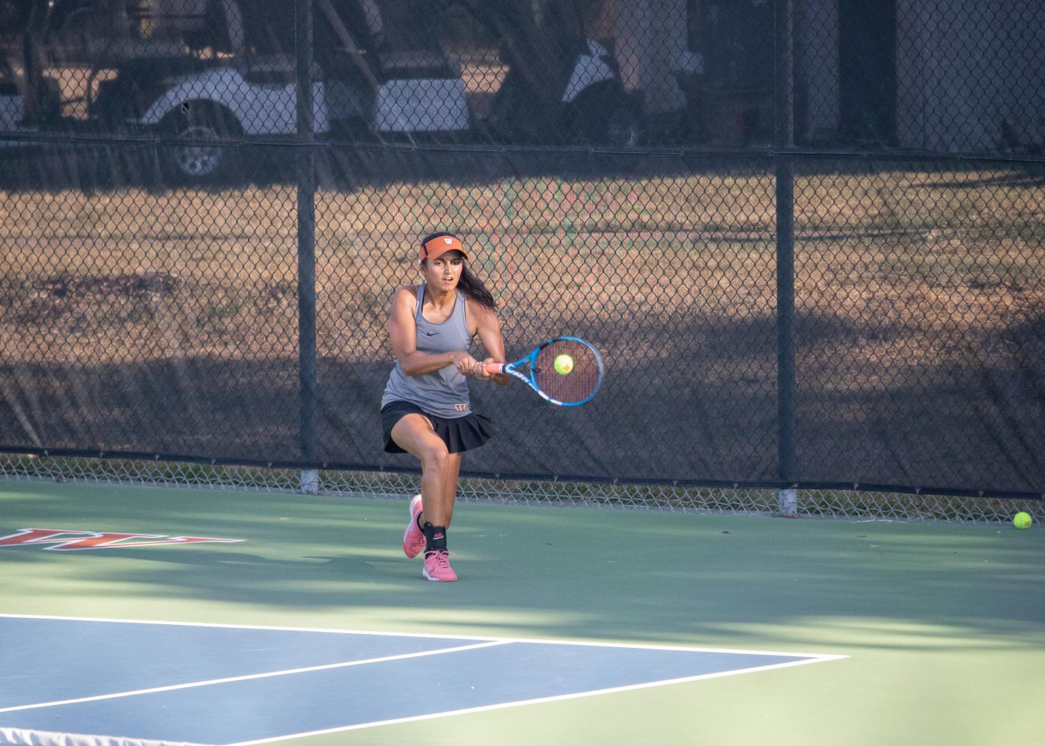 Running to return the ball on the backhand side, Kinjal Khatri '20 gracefully wins the point. Unfortunately, she fell short in her match and lost in two 6-0 sets.