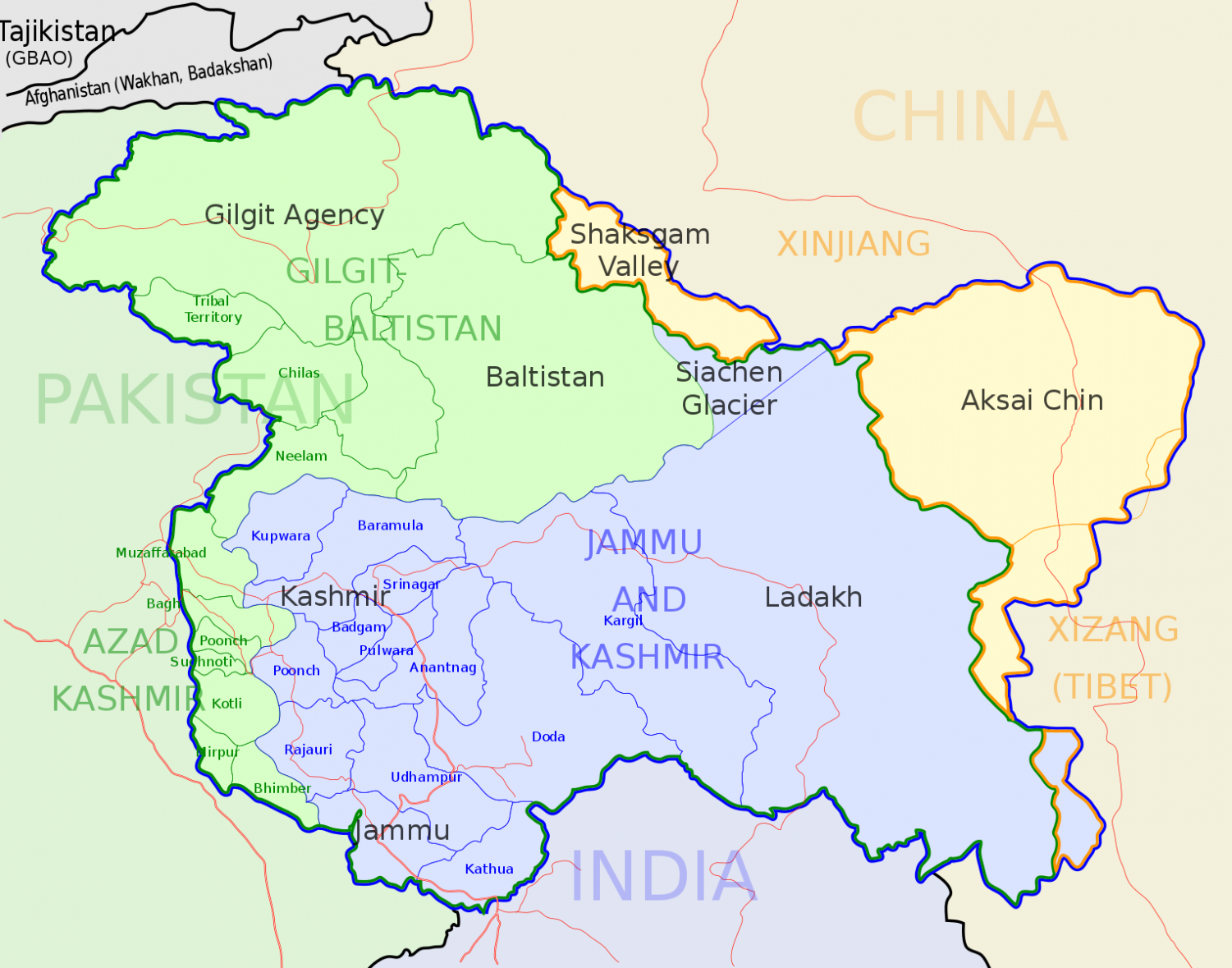 Kashmir is a highly disputed area between Pakistan and India.