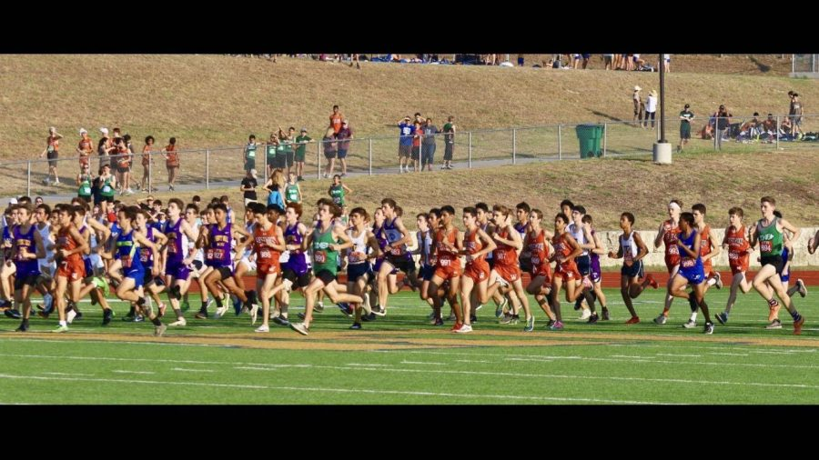 The varsity boys begin the race on the football field.  The large clump soon narrowed to a lead pack of ten runners. Photo courtesy of Ramesh Swaminathan.