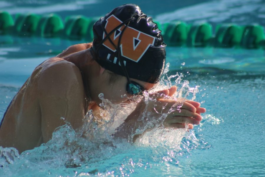 Jaqueline Liu '22 swimming breaststroke in the 200 meter IM. Not feeling well before the meet, Liu still won many points for the team.