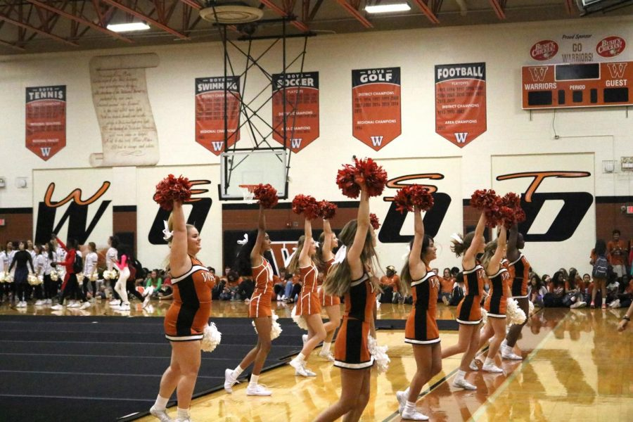Cheerleaders perform at Sept. 6 pep rally, hyping up the crowd between presenters.