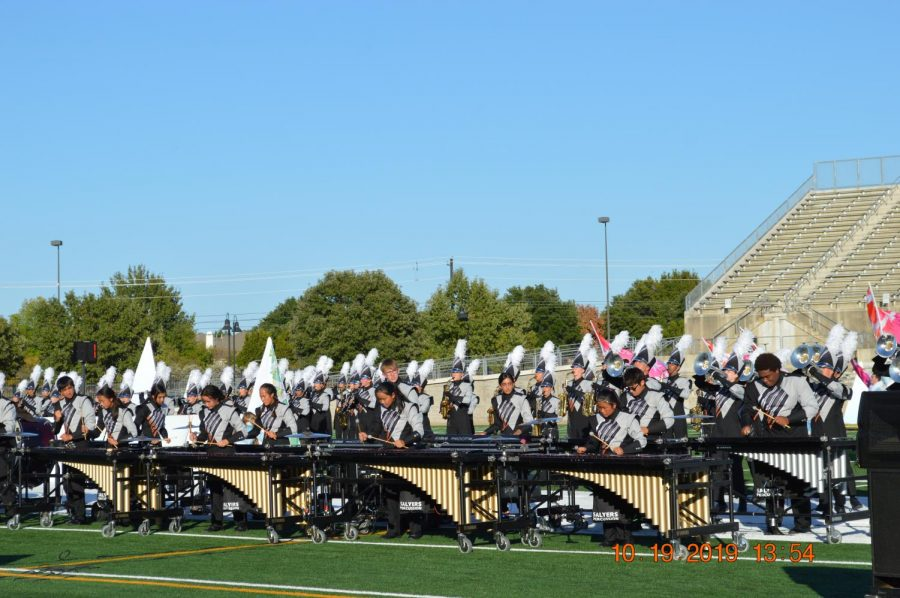 The front pit ensemble of the Westwood Marching band performs Part One of the show.