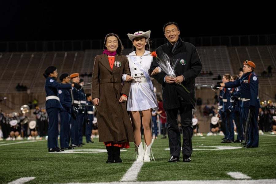 Homecoming Queen Ashley Zhang '20 stands in front of the Westwood student body and faculty. Homecoming queen was crowned by Westwood alumni and 2017 homecoming queen.