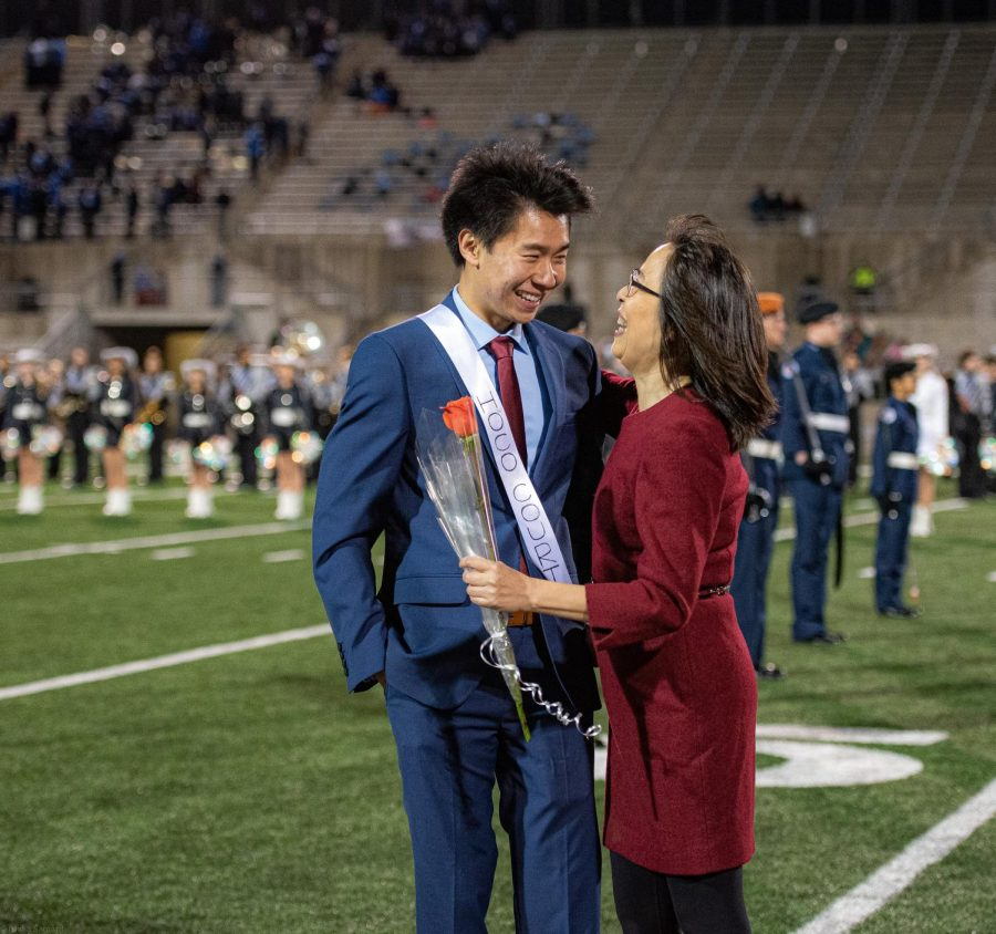 Brandon Qin '20 smiles at his mother after he was announced the 2019 homecoming king. Historically, Homecoming kings and queens are supposed to represent the student body exemplifying the spirit and highest standard of the school.