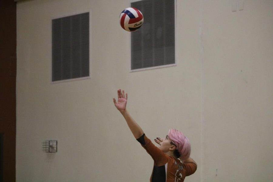 Kylie Wardlow 23 serves the ball. Wardlow served the ball a lot of times, helping the team to win several points.