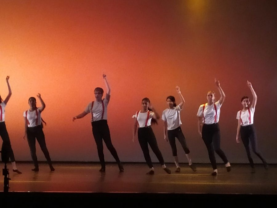 The dancers pose at one of their top movements. They used a lot of high energy during the dance.