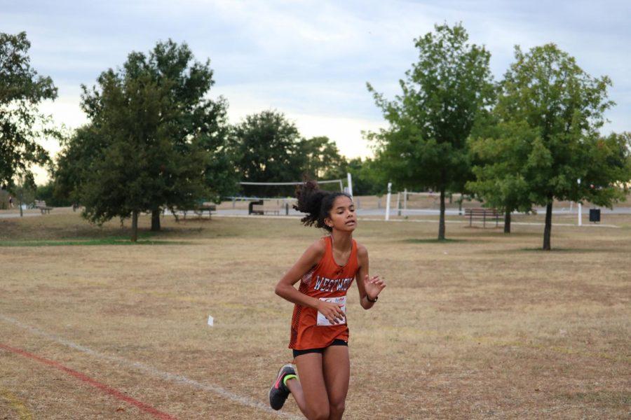 Priya Gangadharan '23 paces herself throughout the race.