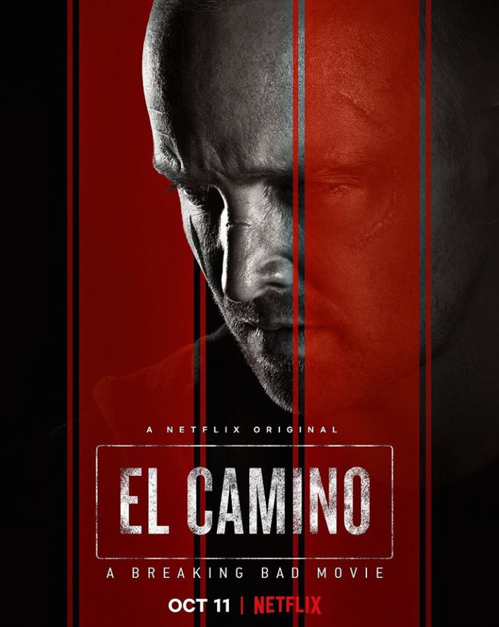 The poster for El Camino: A Breaking Bad Movie features main character Jesse Pinkman portrayed by Aaron Paul. Paul has won multiple Emmys for his work in the Breaking Bad series. Photo Courtesy of Aaron Paul.