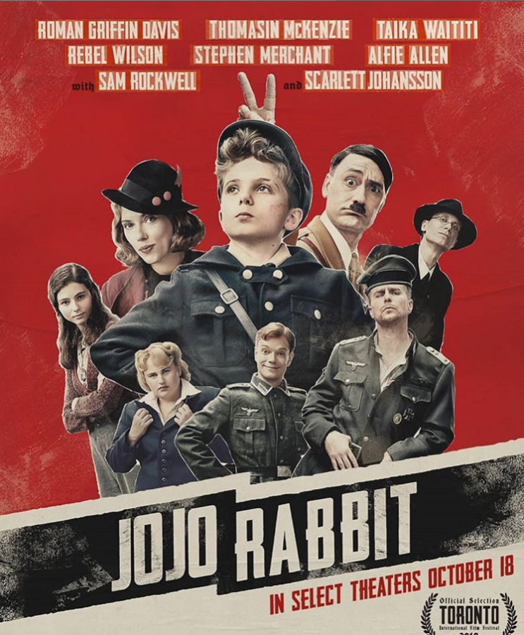 The+poster+for+%27Jojo+Rabbit%27+features+the+main+characters+for+the+film+played+by+outstanding+actors+and+actresses.+The+colors+represent+the+Nazis+and+the+time+period+in+which+the+movie+takes+place%2C+World+War+II.+Photo+Courtesy+of+Taika+Waititi+Instagram.