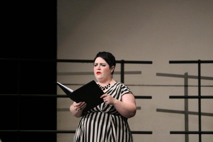 Voice lesson teacher Lauren White-Arthur sings her solo in 'Salut Printemps'. White-Arthur is a voice lesson teacher at Westwood High School.