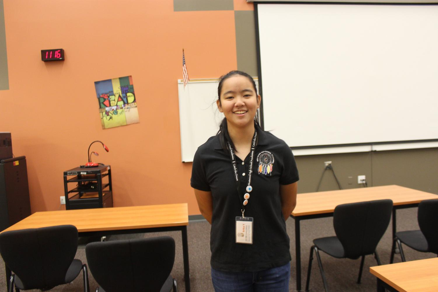 Erica+Yao+%2721%2C+Governing+Team+member+of+the+STEM+academy%2C+smiles+after+a+successful+8th+grade+day.++All+the+presentations+ran+smoothly+since+the+8th+graders+sat+quietly+and+listened.
