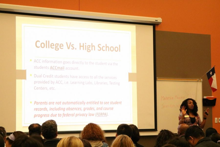 The presenter, Makeisha Muwana, highlights the differences between high school and college classes and the various responsibilities expected of the students. She is the high school programs enrollment and outreach coordinator at Austin Community College.
