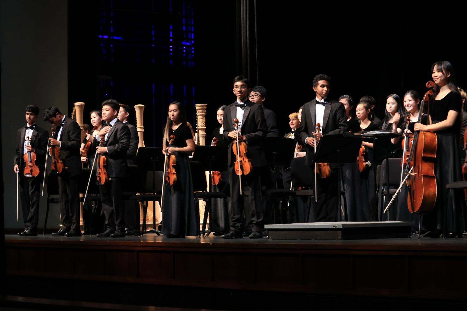 The+symphony+orchestra+rises+for+the+audience+after+the+concert.+