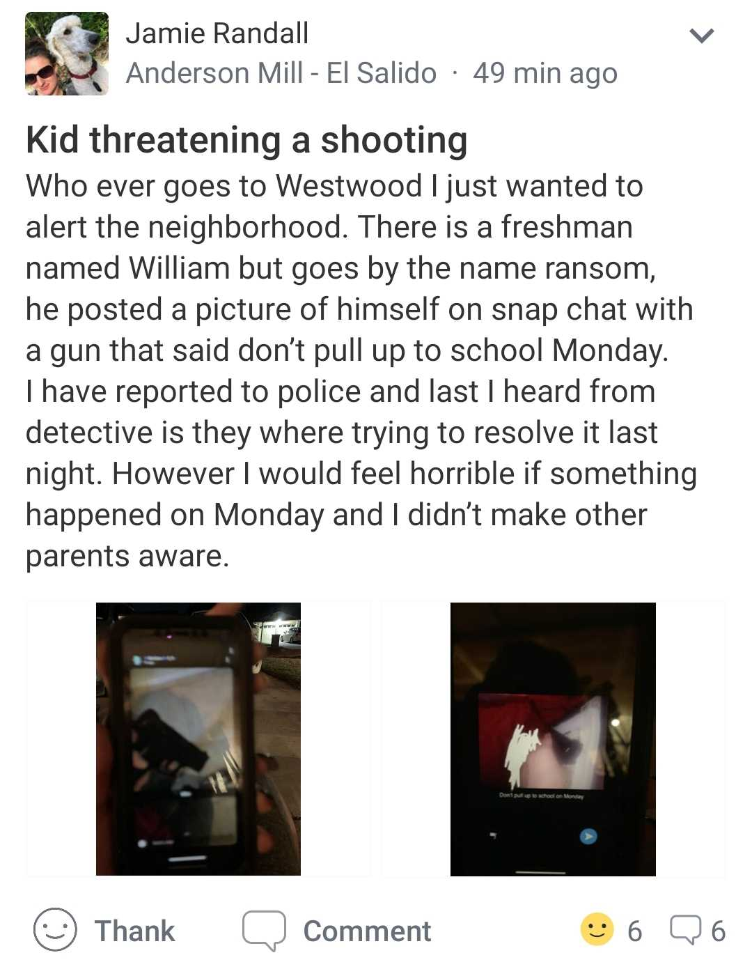 A+post+on+the+app+Nextdoor+explaining+the+incident.+Attached+to+the+post+were+original+screenshots+of+the+student%27s+threat.