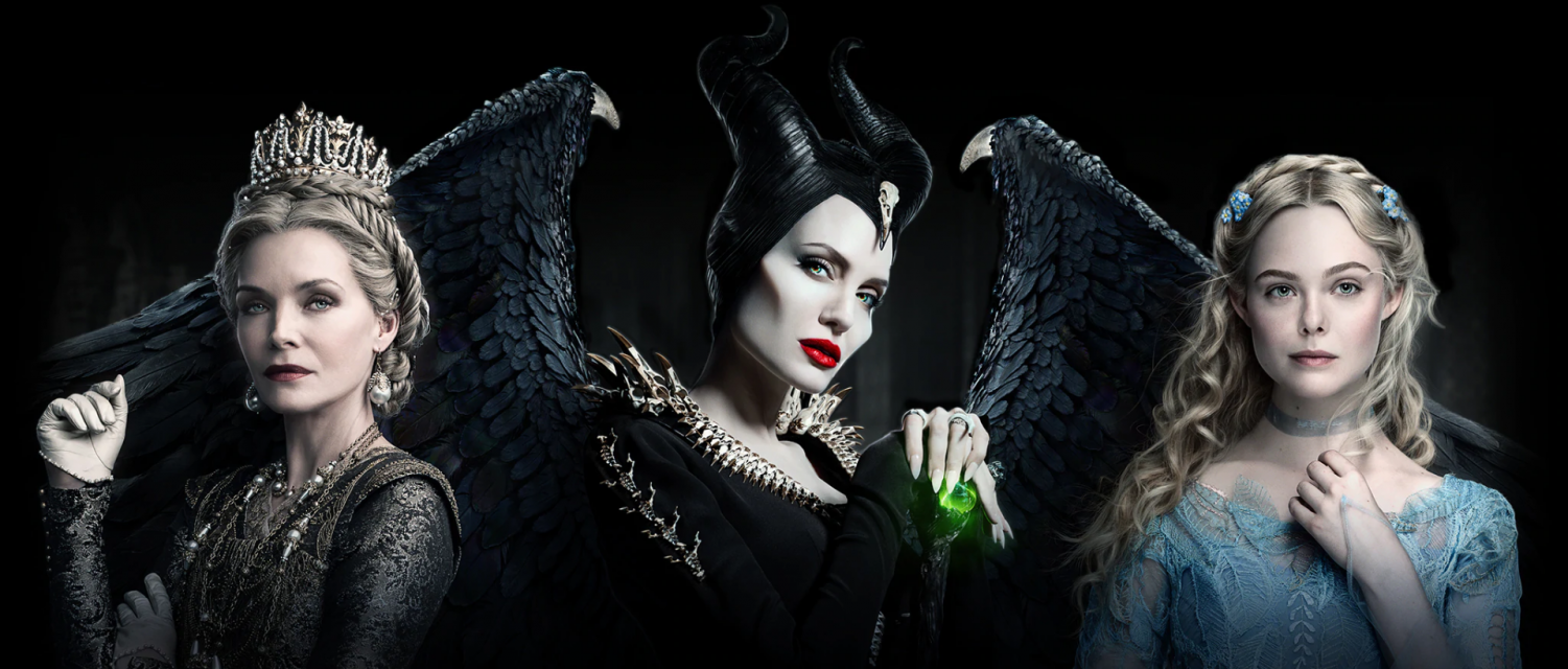 The three main characters pose in the poster. Maleficent, played by Angelina Jolie, is in the center while the Queen and Aurora are on her left and right sides respectively. Photo Courtesy of Disney.