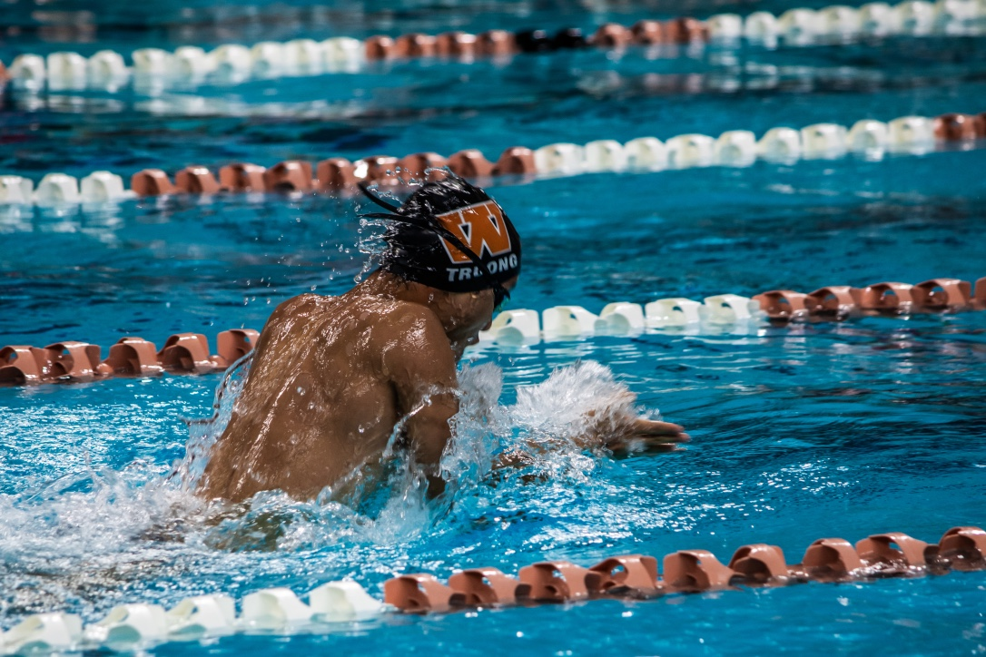 Benjamin+Truong+%2721+goes+up+for+air+in+the+100+meter+Breaststroke.+Truong+ended+up+placing+second+in+his+heat.+
