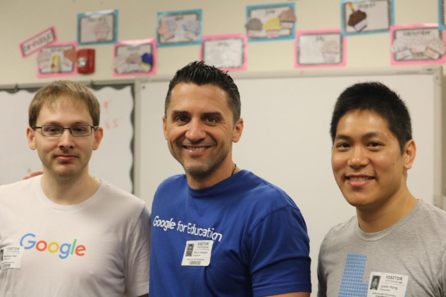 Google representees come to Anderson Mill to talk to its students about coding.