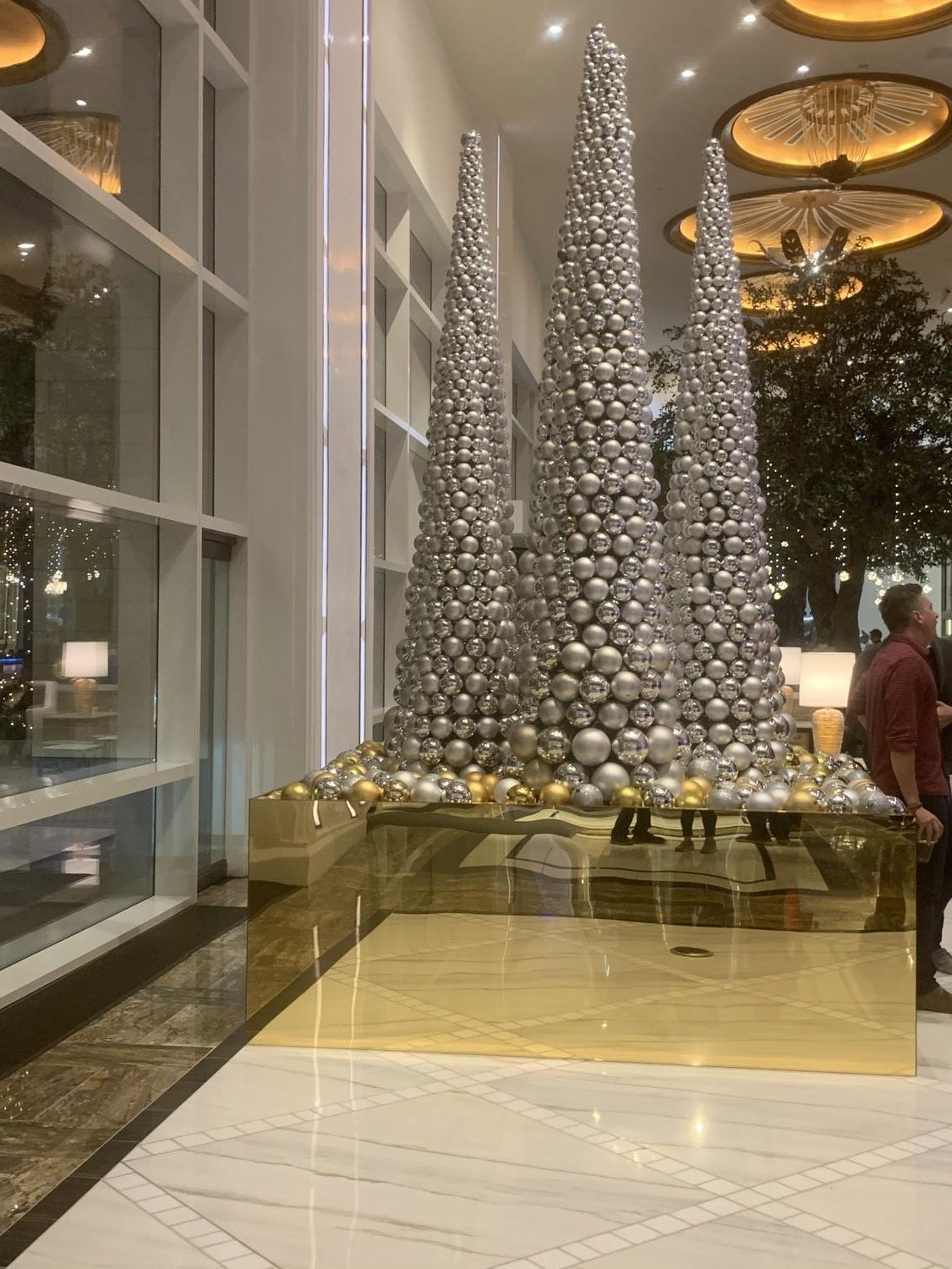 There+were+many+places+for+guests+to+take+pictures%2C+including+these+towers+of+ornaments+that+resembled+Christmas+trees.++All+the+ornaments+were+glued+carefully+a+month+in+advance+to+prepare+for+the+event.
