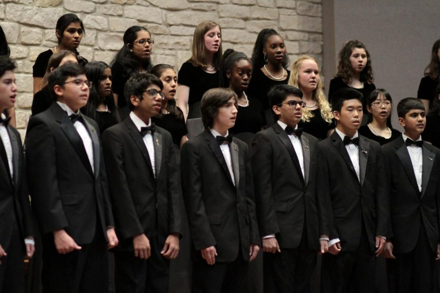 The combined concert men and women sing 'December Medley' by Bareilles/Duritz. This was the third song of the evening.