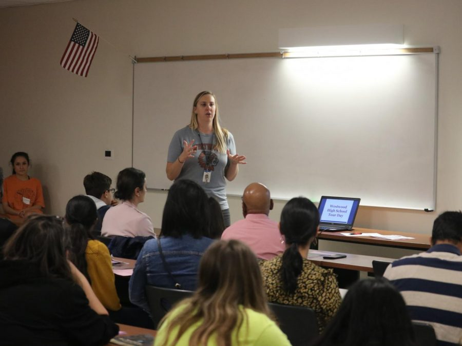 Lead Counselor Ms. Holly Browning kicks off the tour day with how to register for Westwood. Parents also had the opportunity to ask questions about the process.
