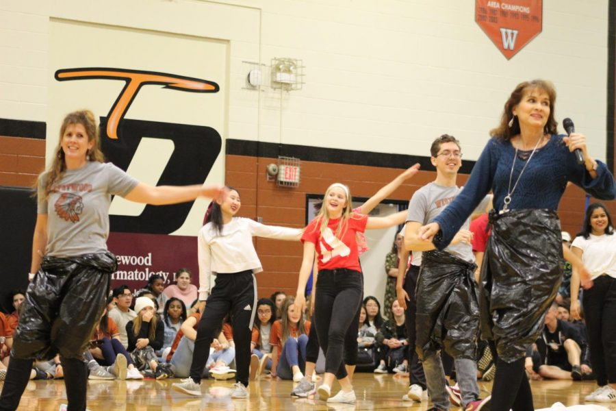 The Chemistry department dance along with some of the SunDancers at the teacher lip-sync battle.