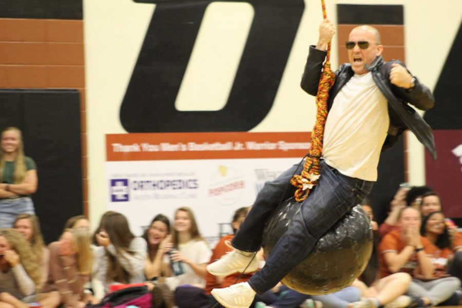 Principal Dr. Mario Acosta lip-syncs to Wrecking Ball by Miley Cyrus. All of the students cheered as he performed.