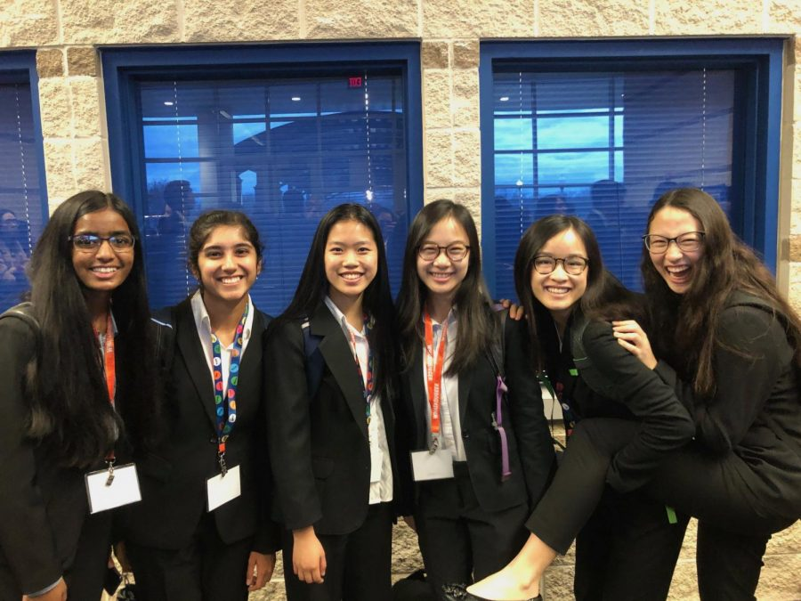 Juniors Aashi Vishnoi, Nandika Tyagi, Hannah Ngai, Michelle Sang, Kayla Bui, Jessica Math (left to right) pose together before their events.