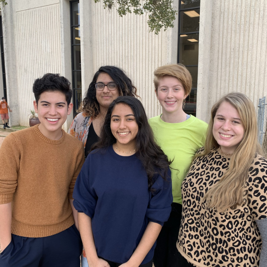 Students who placed at the TMEA Area auditions pose for a picture. Gabriel Paredes '23, Anouka Saha '21, and Ashley Howell '21 are in the front with Ananya Anand '20, and Laney McFadden '20 behind them. Photo Courtesy of Mr. Andre Clark.