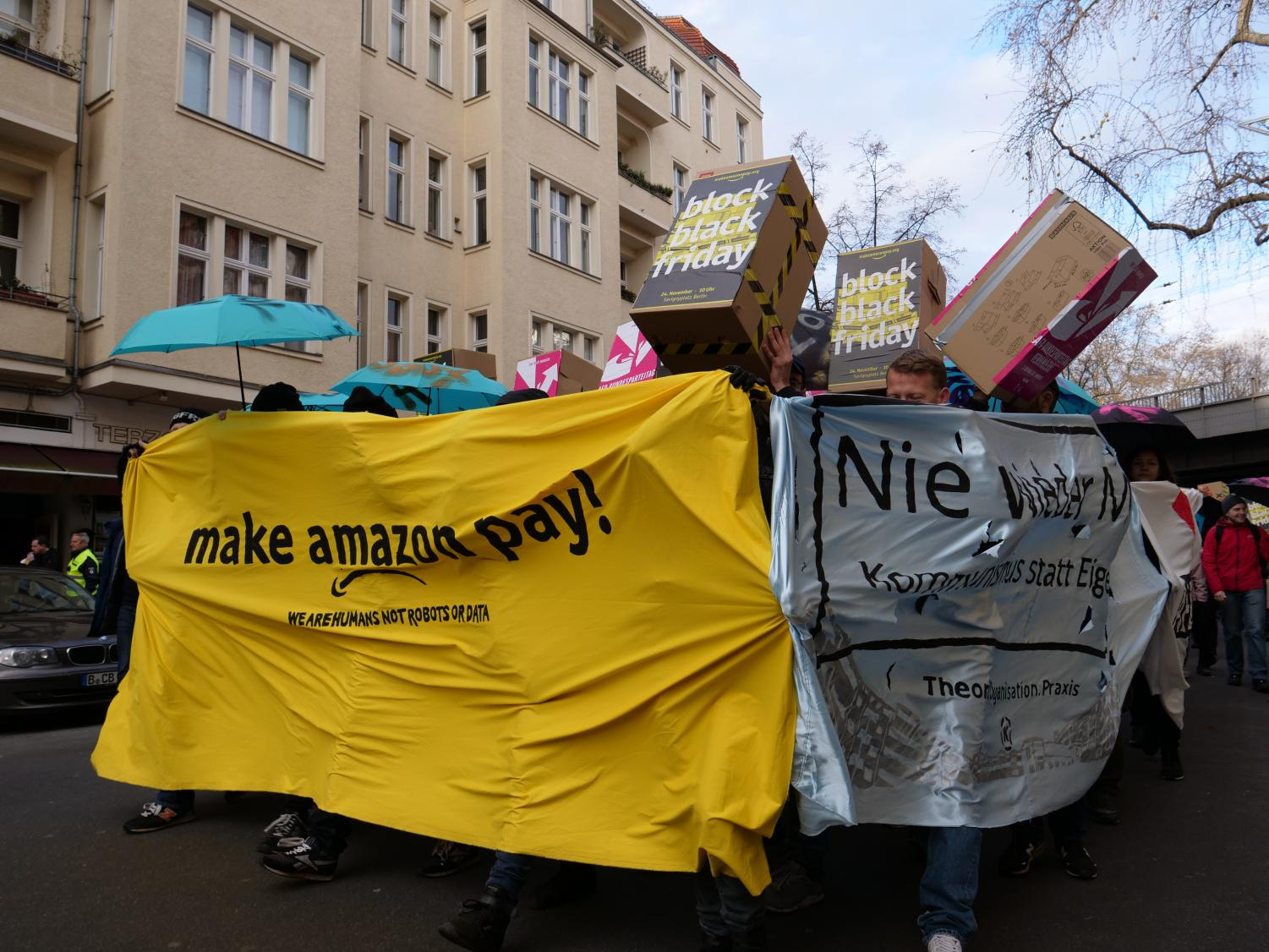 Protestors in Berlin hold a demonstration against Amazon's tax policy and treatment of workers on Nov. 24, 2017. Multiple protests have been held by Amazon employees all over the world against the company.