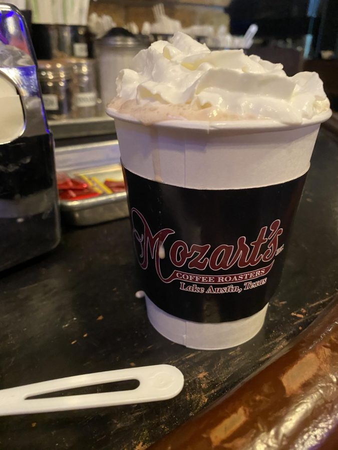 The classic hot chocolate is topped with marshmallows and whipped cream, and has a delightful flavor.