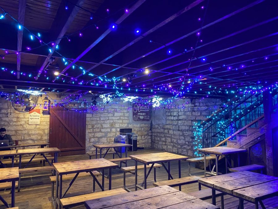 A quiet area decked with its own lights can be found directly underneath the store.