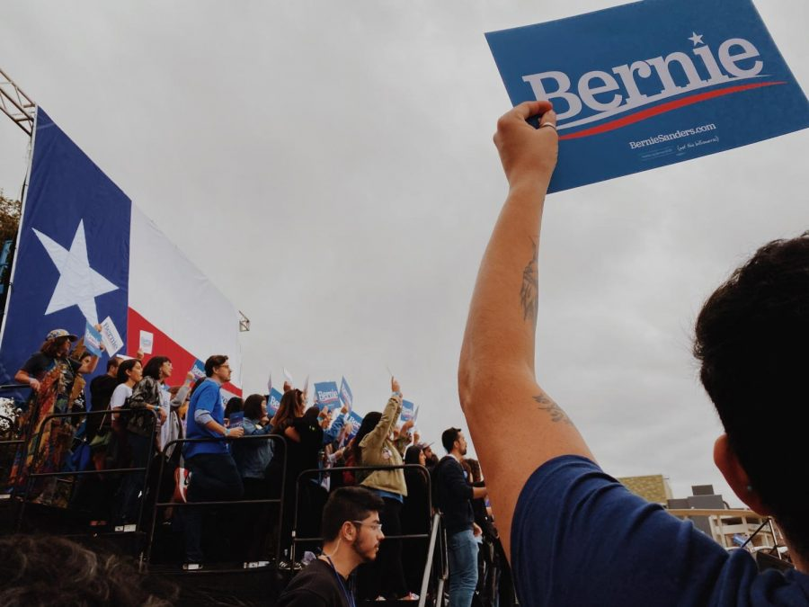 A group of selected individuals got the chance to stand on risers directly behind Sanders' podium and the stage.
