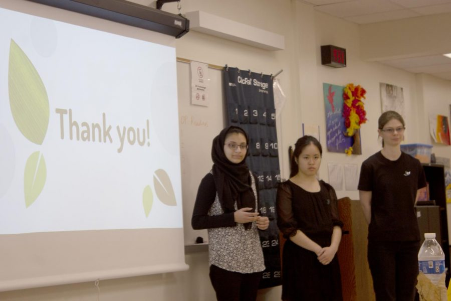 Fatimah Shah 22, Amy Yamamoto 22, and Naomi Sheppard 22 present their shark tank product. Their product was a lawnmower that mowed the lawn without humans having to do anything.