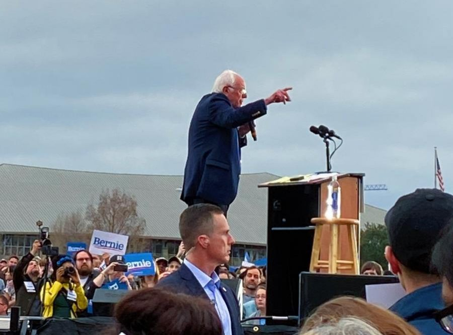 Bernie Sanders speaks about his policies to the crowd at Auditorium Shores on Feb. 23.