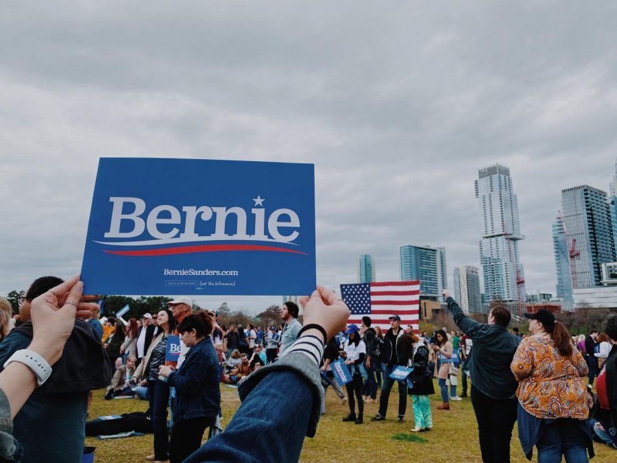 From the rally, Austin's distinct skyline is prominent.