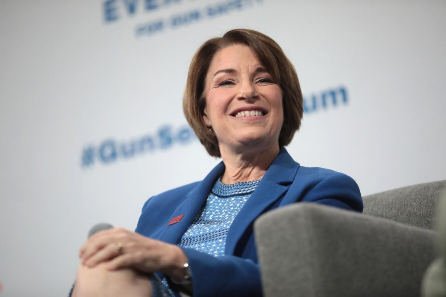 Senator+Amy+Klobuchar+speaks+at+the+Presidential+Gun+Sense+Forum+in+Iowa+on+Aug.+10%2C+2019.+Klobuchar+and+Elizabeth+Warren+were+both+endorsed+by+the+New+York+Times+for+the+2020+presidential+race.