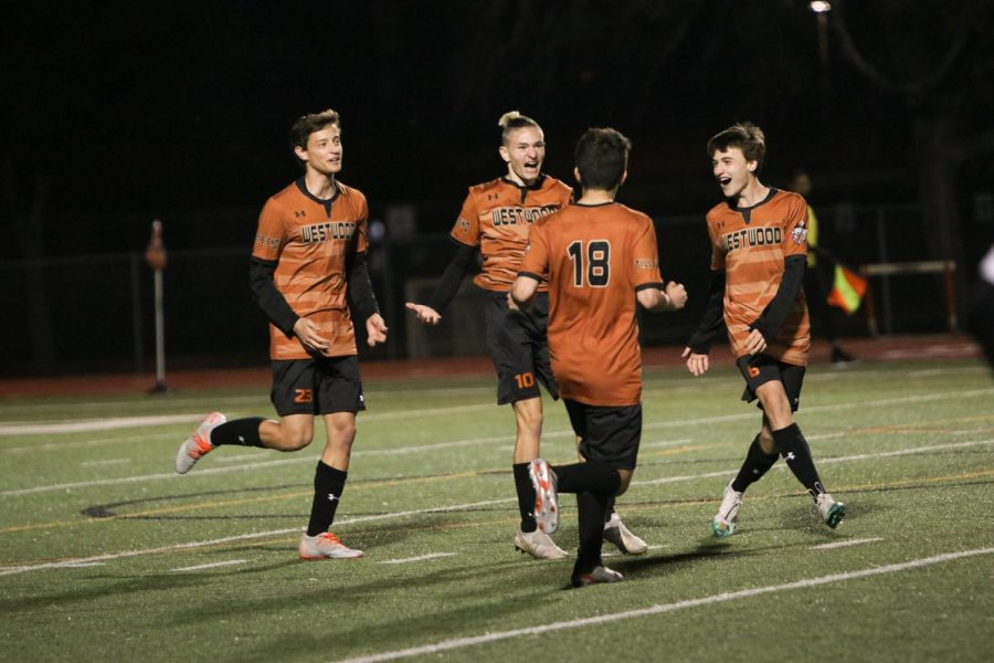 The Warriors celebrate after Niko Harris '20 scores a goal. This was the final goal of the night, making the score 3-0.