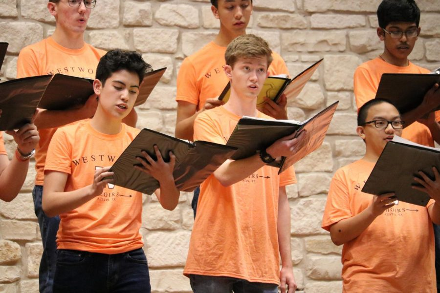 Gabriel Paredes '23 sings a solo during 'Dulaman'. The traditional folk song was a part of the Varsity Men's set for their upcoming UIL competition.