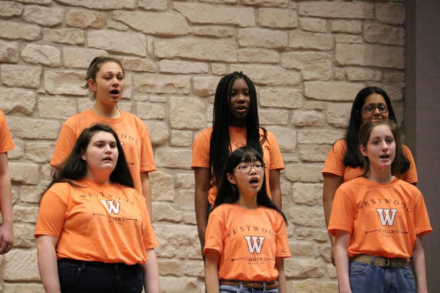 Concert Women sings their UIL songs for the audience. This group is the beginner women's choir, consisting mostly of freshman girls.