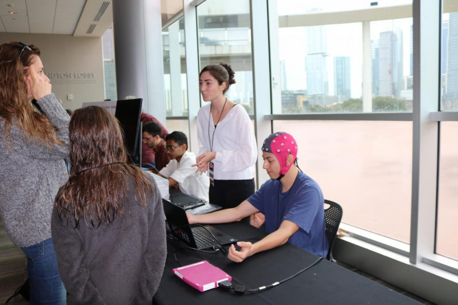 Attendees experienced brain wave detectors at an interactive Neuroscience Demo. This xLab was held by the UT Engineering department.